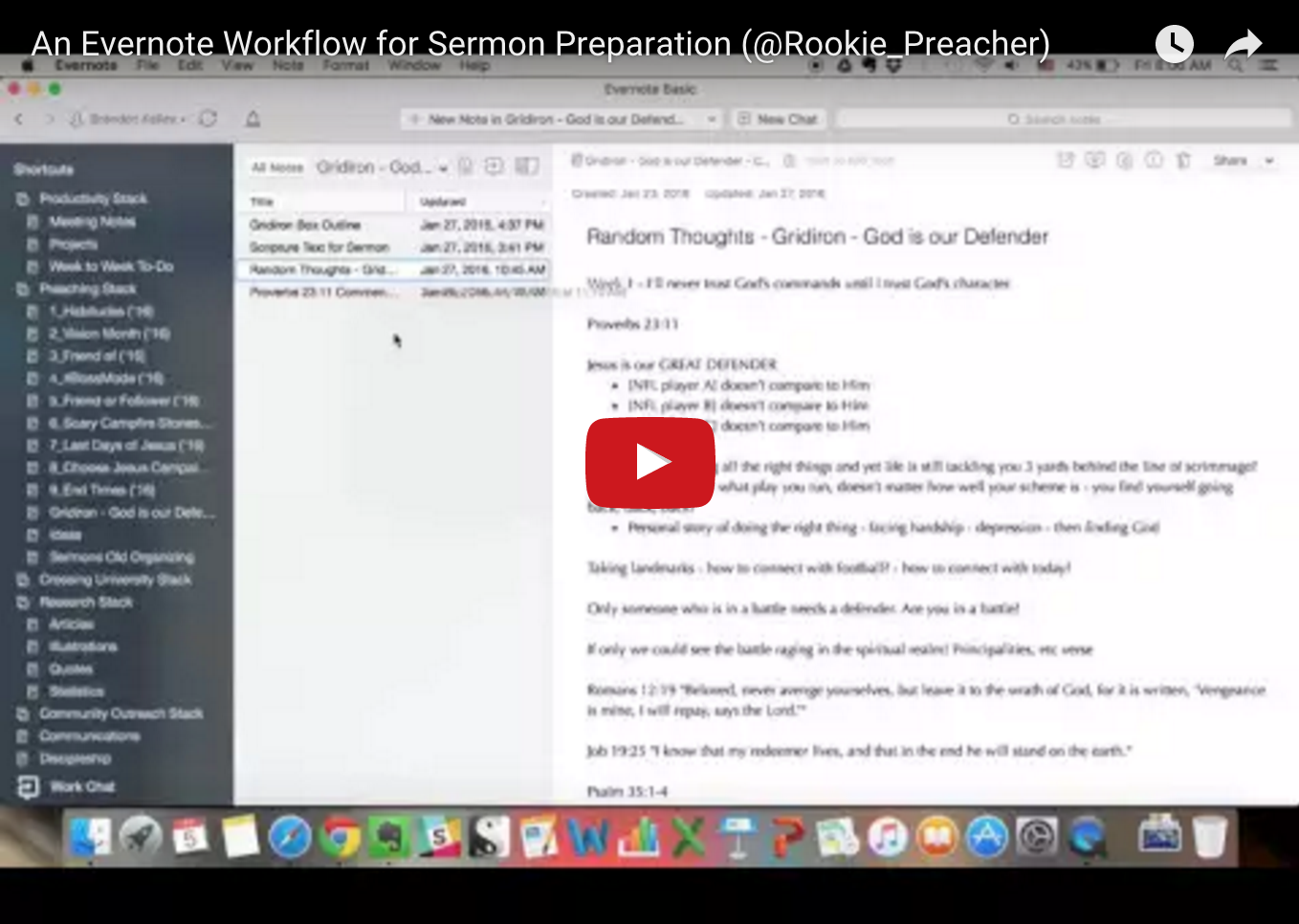 An Evernote Workflow for Sermon Preparation [Video]